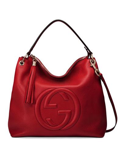 Soho Large Leather Hobo Bag, Red