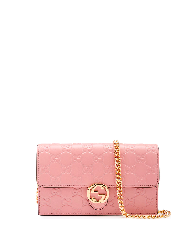 a2ed33465a9f Gucci Gucci Icon Guccissima Wallet on Chain, Soft Pink | Neiman Marcus