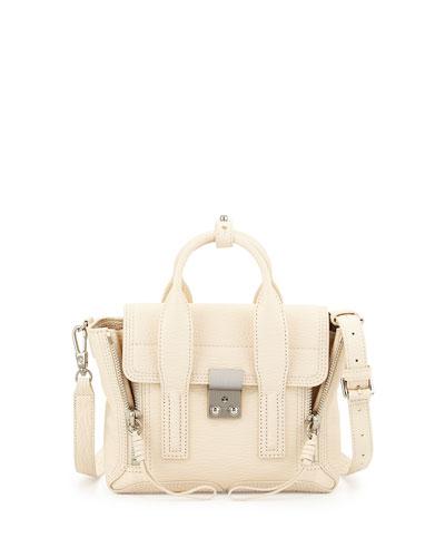 Pashli Mini Leather Satchel Bag, Milk