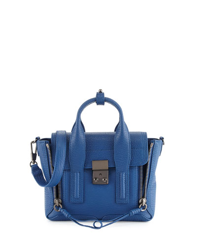 Pashli Mini Leather Satchel Bag, Cerulean