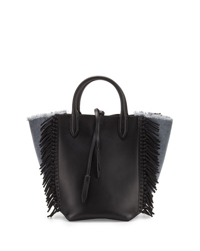 Bianca Small Fringe Tote Bag, Denim/Black