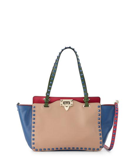 Valentino Garavani Rockstud Four Color Mini Tote Bag Beige Blue Pink Green Neiman Marcus