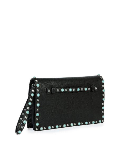 Rockstud Turquoise Medium Flap Clutch Bag, Black