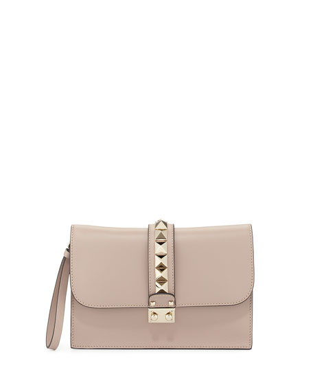 Valentino Lock Grain Wristlet Large Clutch Bag, Taupe