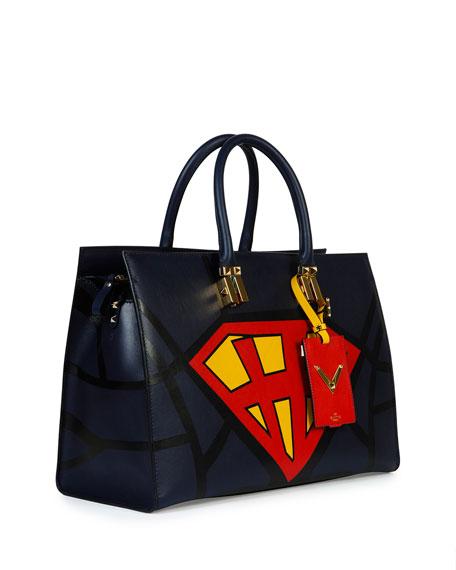 Superhero Superman Tote Bag, Navy/Red/Yellow