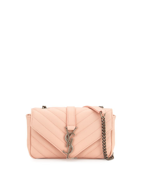 Saint Laurent Monogram Baby Chain Crossbody Bag, Pale Pink