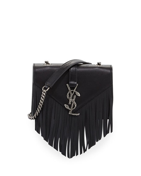yves saint laurent classic monogram fringed suede shoulder bag