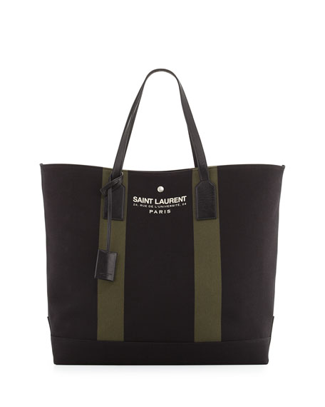 Saint Laurent Striped Beach Shopper Tote Bag, Black/Khaki