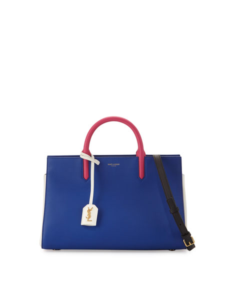 Saint Laurent Rive Gauche Small Leather Tote Bag, Cobalt/White/Fuchsia/Black