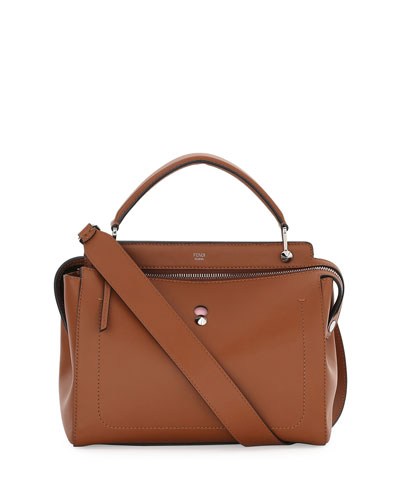 DOTCOM Medium Leather Satchel Bag, Bark/Bubblegum