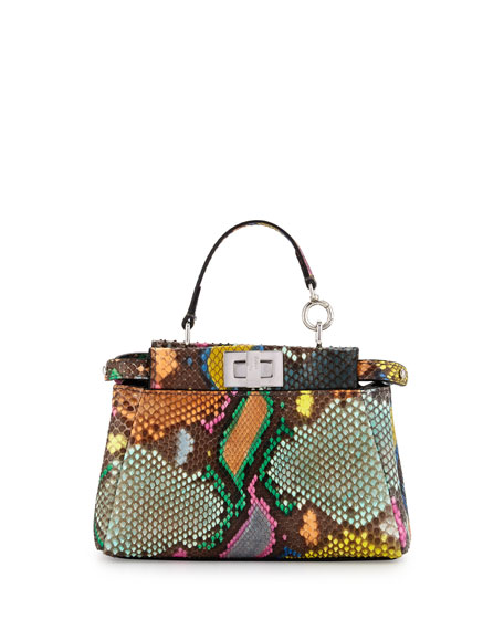 Fendi Peekaboo Micro Painted Python Satchel Bag, Multi
