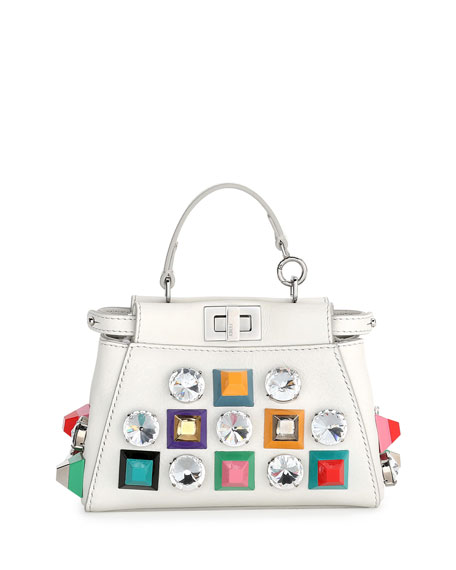 Fendi Peekaboo Micro Studded Satchel Bag, White Multi