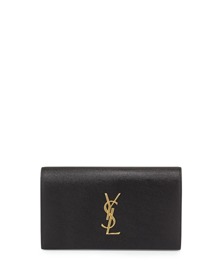 Monogram Calfskin Clutch Bag, Black