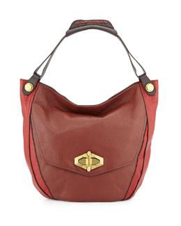 Julia Colorblock Hobo Bag, Chestnut/Multi