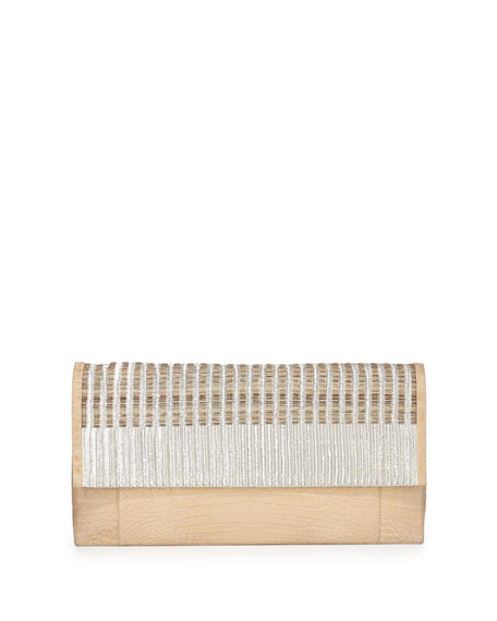 Nancy Gonzalez Woven Calf Hair & Crocodile Clutch