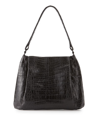 Crocodile Small Hobo Bag, Black Matte