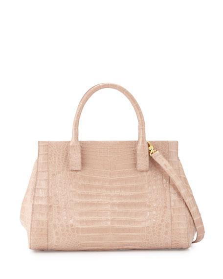 Nancy Gonzalez Daisy Medium Crocodile Satchel Bag, Nude