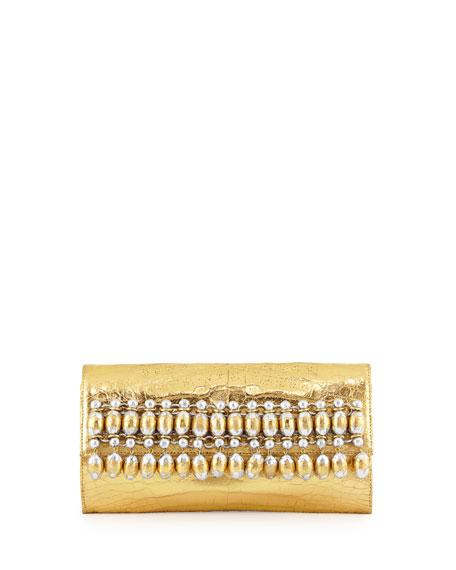 Nancy Gonzalez Crocodile Beaded Flap Clutch Bag, Gold