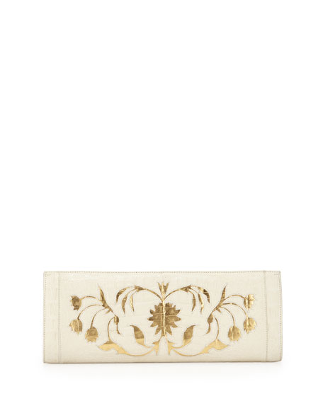 Nancy Gonzalez Crocodile Woven Slicer Clutch Bag, Cream/Gold