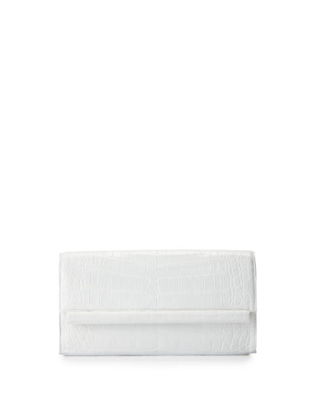 Nancy Gonzalez Crocodile Bar Clutch Bag, White Shiny