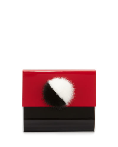 Alex Bunny Micro Clutch Bag, Black/White/Red