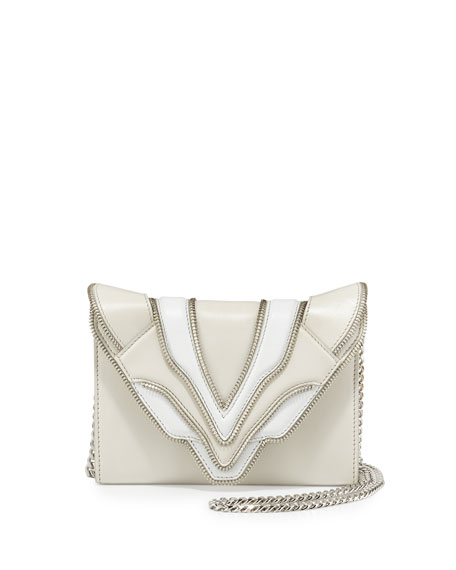 Elena Ghisellini Felina Mignon Biker Shoulder Bag, White/Milk