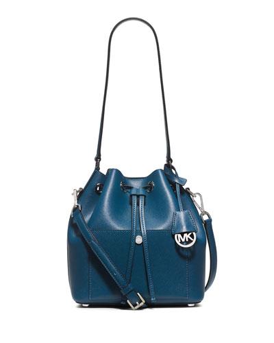Greenwich Medium Bucket Bag, Steel Blue/Light Sky
