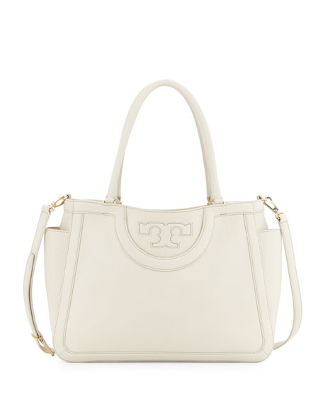 Tory Burch Serif-T Leather Satchel Bag, New Ivory