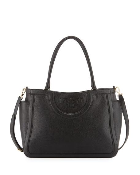 Tory Burch Serif-T Leather Satchel Bag, Black