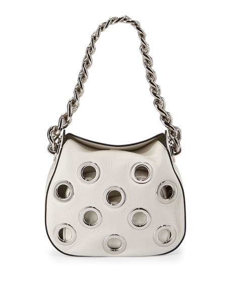 Prada Vitello Daino Small Perforated Chain Hobo Bag,