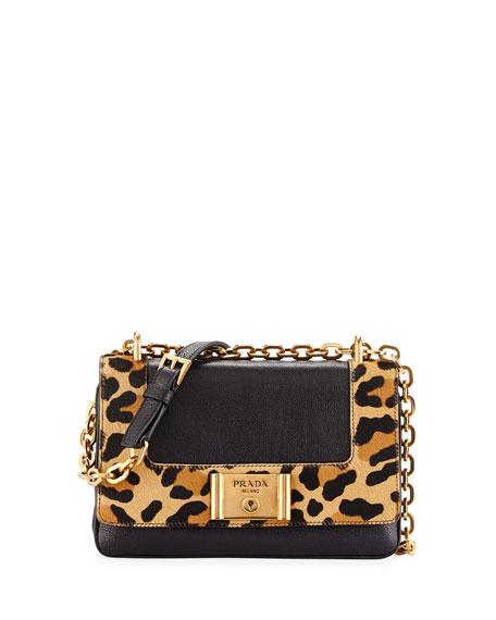 Prada Leopard-Print & Calfskin Flap Shoulder Bag, Black/Honey