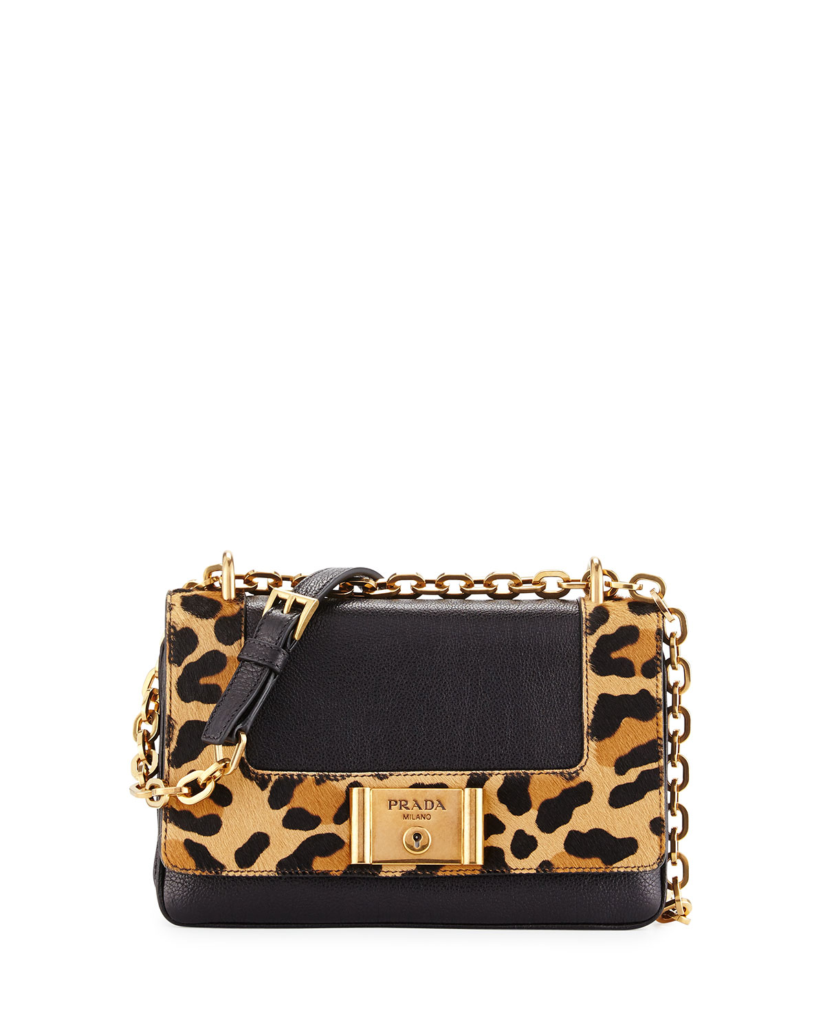 38b5c48bae7bf2 Prada Leopard-Print & Calfskin Flap Shoulder Bag, Black/Honey (Nero+ ...