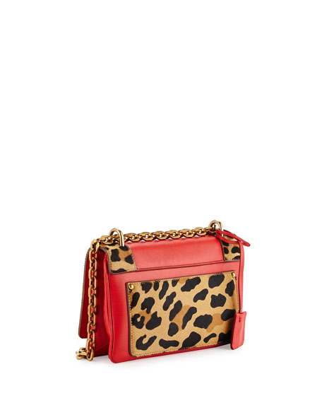 red purse with studs - Prada Calf Hair \u0026amp; Calfskin Chain Shoulder Bag, Red Orange Leopard ...