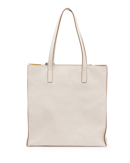 Prada Soft Calfskin North-South Tote Bag, White/Yellow (Talco/Mimosa)