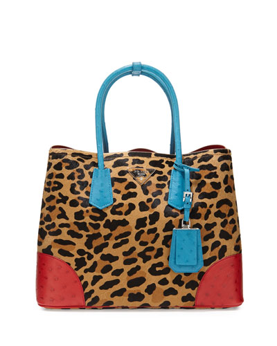Calf Hair & Ostrich Medium Double Tote Bag, Leopard/Blue/Red (Miele+Voya)