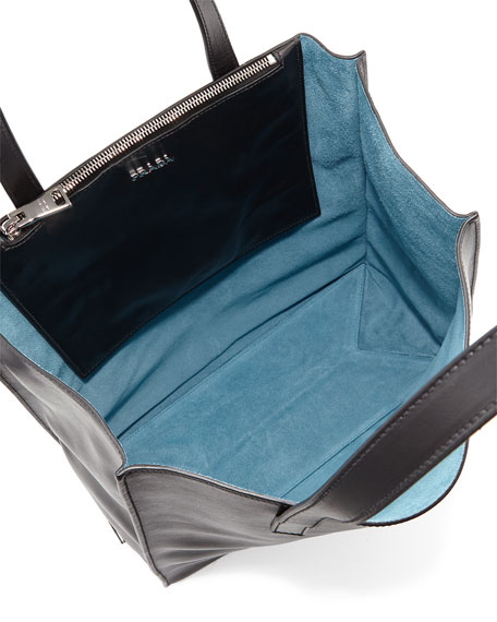 prad handbags - Prada Soft Calfskin North-South Tote Bag, Black/Light Blue (Nero+ ...