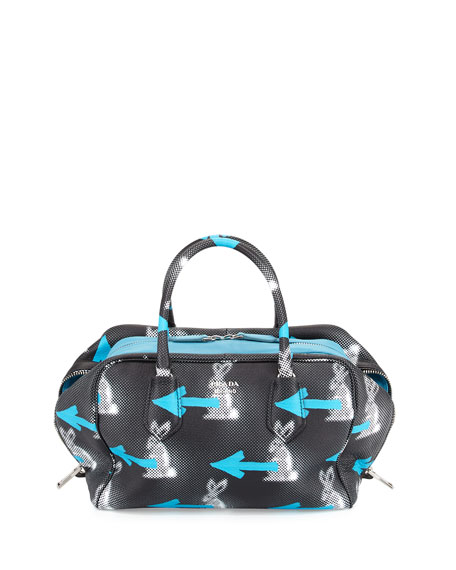 PradaDaino St. Rabbits Inside Bag, Black/Blue (Nero+Azzurro)