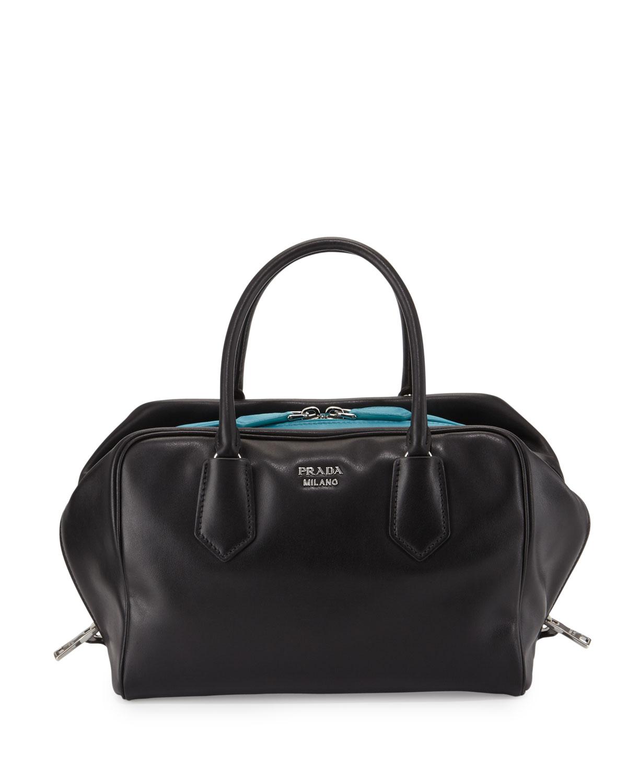 9fc6aa3ed87eb6 Prada Soft Calf Medium Inside Bag, Black/Turquoise (Nero+Turchese ...