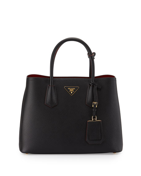 Prada Saffiano Cuir Double Small Tote Bag, Black/Red