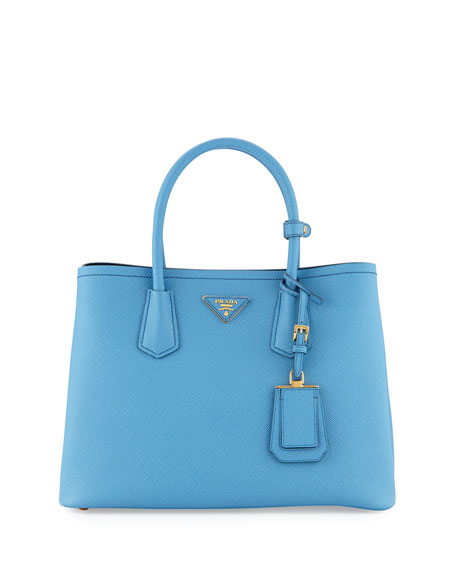 Prada Saffiano Cuir Double Small Tote Bag, Light