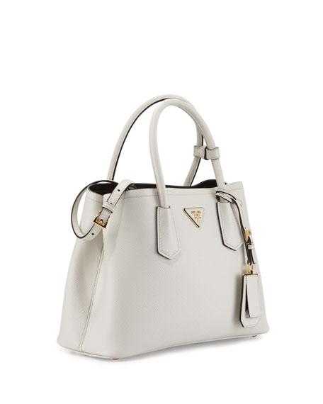 Small Saffiano Tote Bag, White/Black (Talco+Nero)