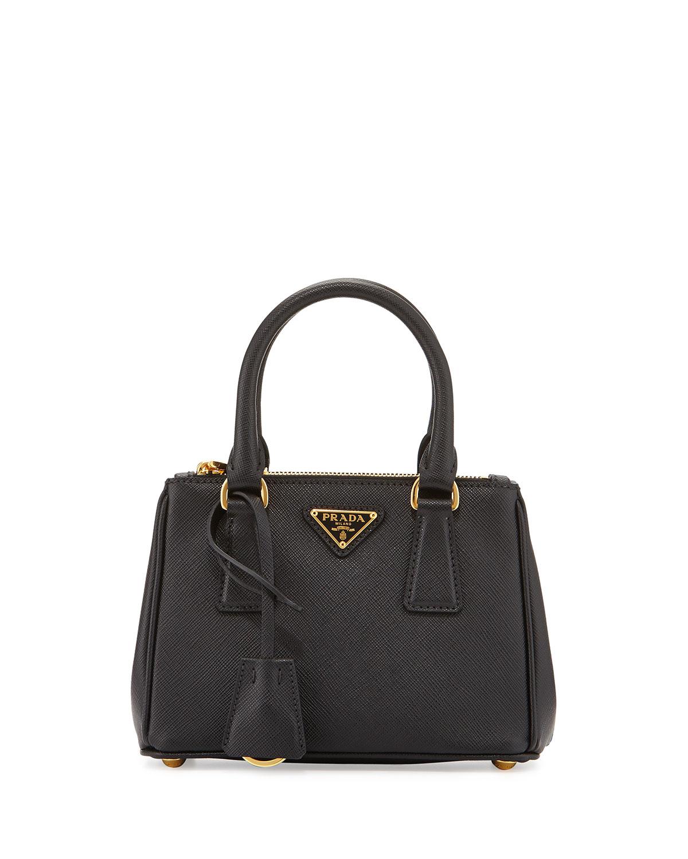 6070aedfb9fd Prada Saffiano Lux Micro Tote Bag w Shoulder Strap