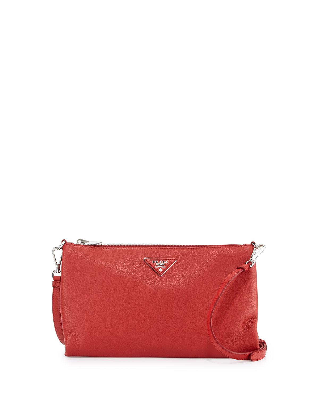 57759fcf27cdde Prada Vitello Daino Zip-Top Crossbody Bag, Red (Rosso) | Neiman Marcus