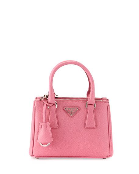 PradaSaffiano Lux Micro Tote Bag w/Shoulder Strap, Pink