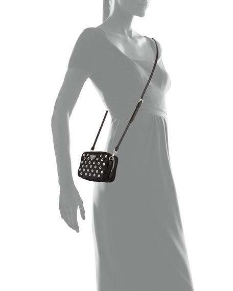 Prada Tessuto Vela Grommet Crossbody Bag, Black (Nero)