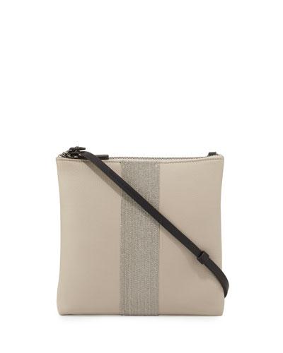 Calfskin Messenger Bag w/Monili Stripe, Light Gray