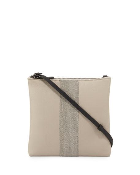 Brunello Cucinelli Calfskin Messenger Bag w/Monili Stripe, Light Gray