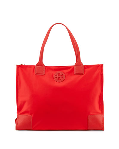 Ella Packable Nylon Tote Bag, Vermillion