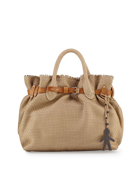 Henry Beguelin Woven Storm Satchel Bag, Beige