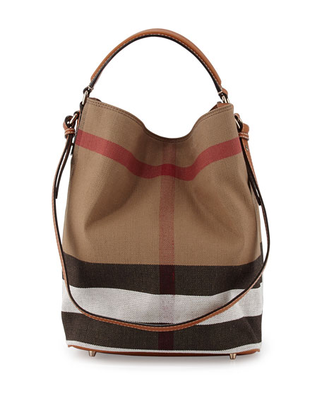 Burberry Ashby Medium Canvas/Calfskin Hobo Bag, Saddle Brown